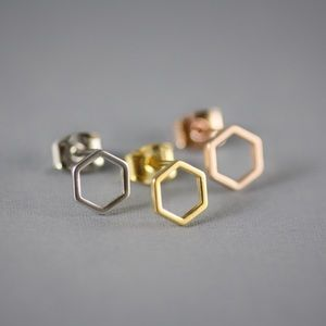 Jewelry - Silver Hexagon Stud Earrings